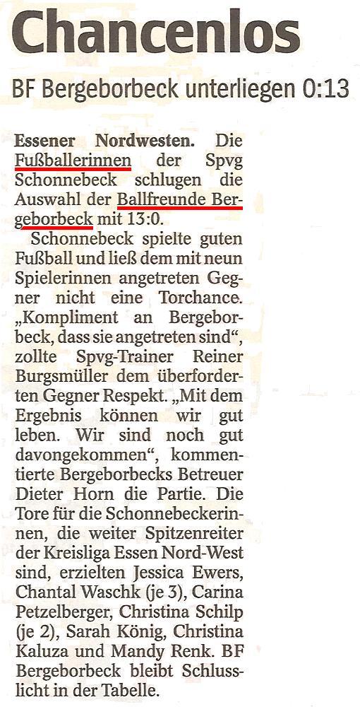WAZ vom 25.11.2010 berichtet über die Frauenmannschaft von Ballfreunde
