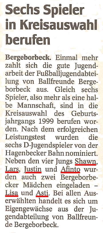 WAZ vom 29.11.2010 berichtet über die Jugendabteilung von Ballfreunde