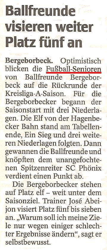 WAZ vom 05.01.2011 berichtet über die Hinrunde der 1.Mannschaft von Ballfreunde Bergeborbeck