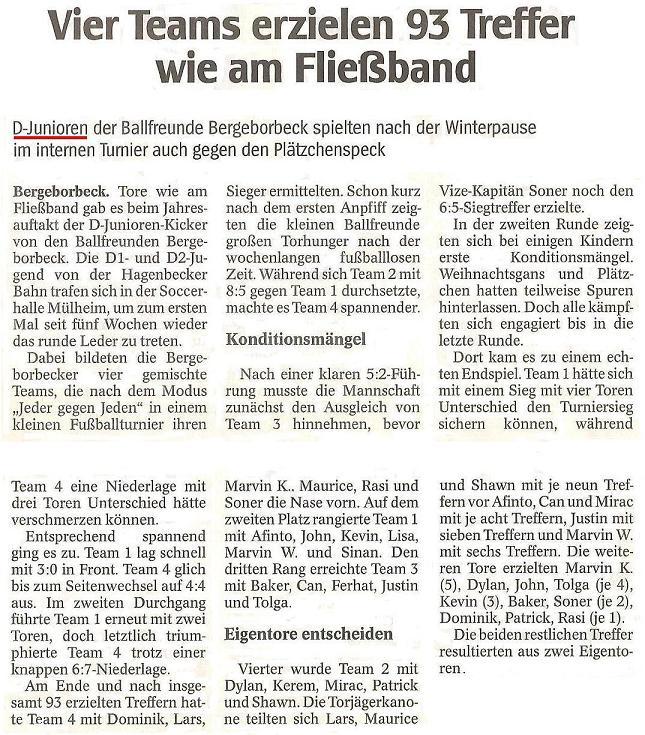 WAZ vom 07.01.2011 berichtet über den Jahresauftakt der D-Junioren von Ballfreunde Bergeborbeck