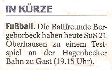 WAZ vom 11.01.2011 kündigt Testspiel der 1. Mannschaft gegen SuS Oberhausen 21 an