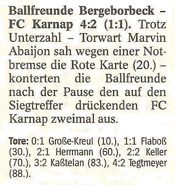 WAZ vom 24.01.2011 Kurzbericht über das Nachholspiel der 1. Mannschaft gegen FC Karnap