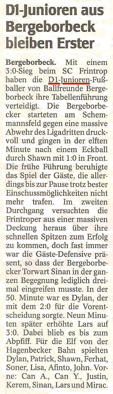 WAZ vom 01.03.2011 berichtet über das Meisterschaftsspiel der D1-Junioren bei SC Frintop