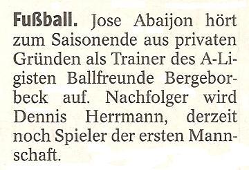 WAZ vom 01.03.2011 berichtet über den Trainerwechsel bei der 1. Mannschaft