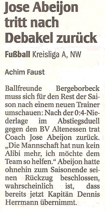 WAZ vom 21.03.2011 berichtet über den Trainerrücktritt bei der 1. Mannschaft