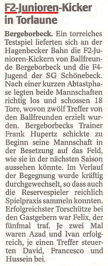 WAZ berichtet am 22.03.2011 über den 12:6 Sieg der F2-Jugend gegen SG Schönebeck