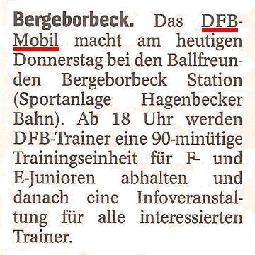 WAZ vom 31.03.2011 kündigt den Besuch des DFB-Mobils bei Ballfreunde Bergeborbeck an