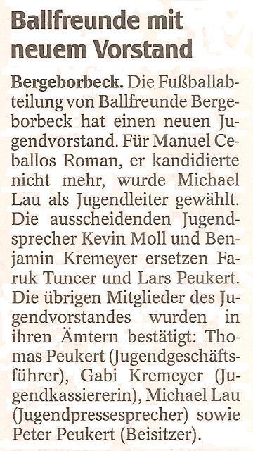 WAZ vom 23.05.2011 veröffentlicht den neuen Jugendvorstand von Ballfreunde Bergeborbeck