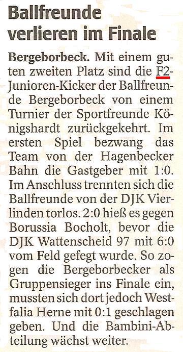 WAZ vom 20.06.2011 berichtet über das Turnier der Ballfreunde F2-Junioren in OB-Königshardt