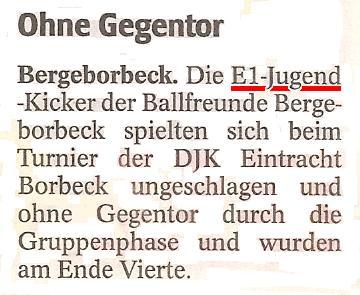 WAZ vom 04.07.2011 berichtet über das Turnier der Ballfreunde E-Junioren in SV Vogelheim