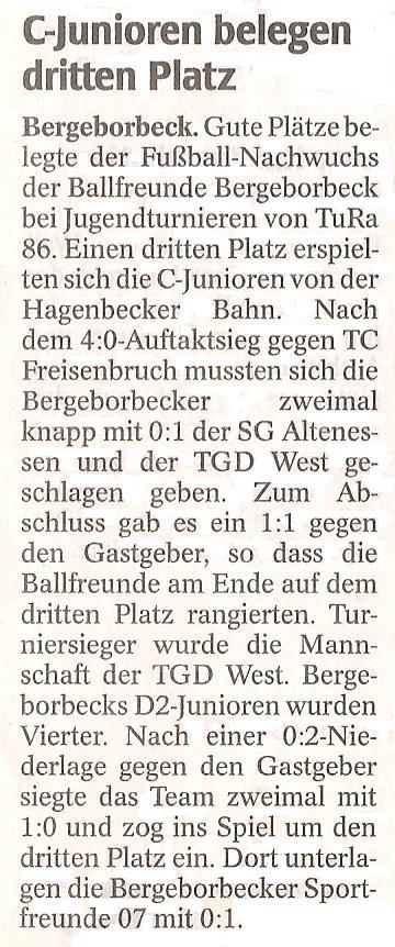 WAZ vom 05.07.2011 berichtet über das Turnier der Ballfreunde C-Junioren bei TuRa 86