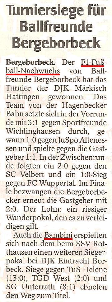 WAZ vom 12.07.2011 berichtet über die Erfolge der Ballfreunde F1 und Bambini bei Turnieren