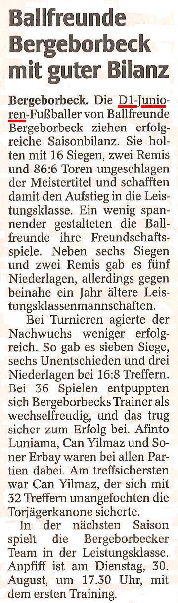 WAZ vom 13.07.2011 zieht eine positive Bilanz über die Ballfreunde D1 Junioren