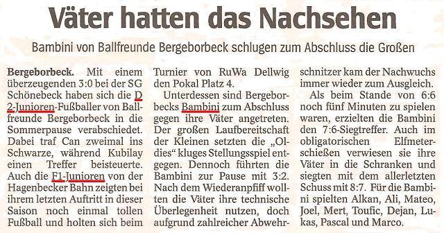 WAZ vom 20.07.2011 berichtet über den Saisonabschluss der D2, F1 und Bambini von Ballfreunde Bergeborbeck
