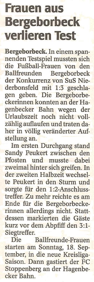 WAZ vom 22.08.2011 berichtet vom Testspiel der Frauenmannschaft in Essen-West 81