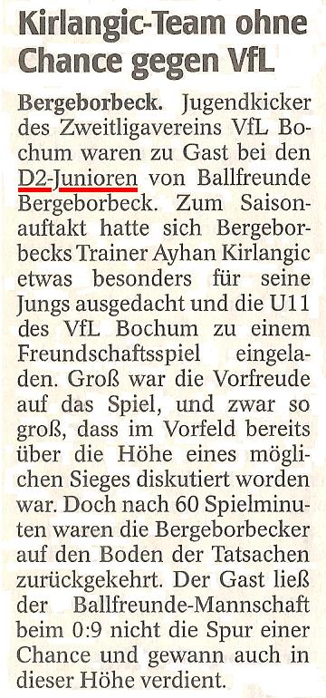 WAZ vom 06.09.2011 berichtet über das Freundschaftsspiel der D2 gegen VfL Bochum