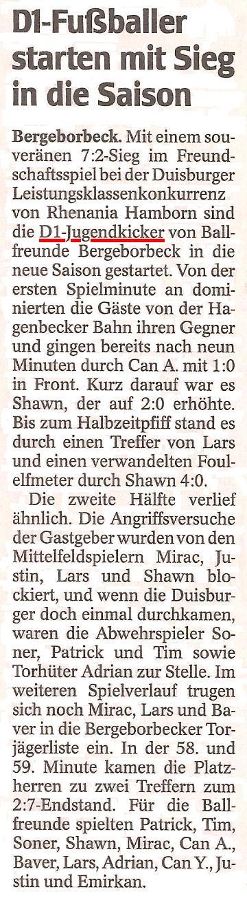WAZ vom 12.09.2011 berichtet über den Sieg der D1 bei Rhenania Hamborn
