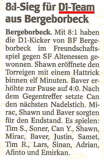 WAZ vom 27.10.2011 berichtet über den Kantersieg der D1-Junioren gegen Sportfreunde 1918 Altenessen
