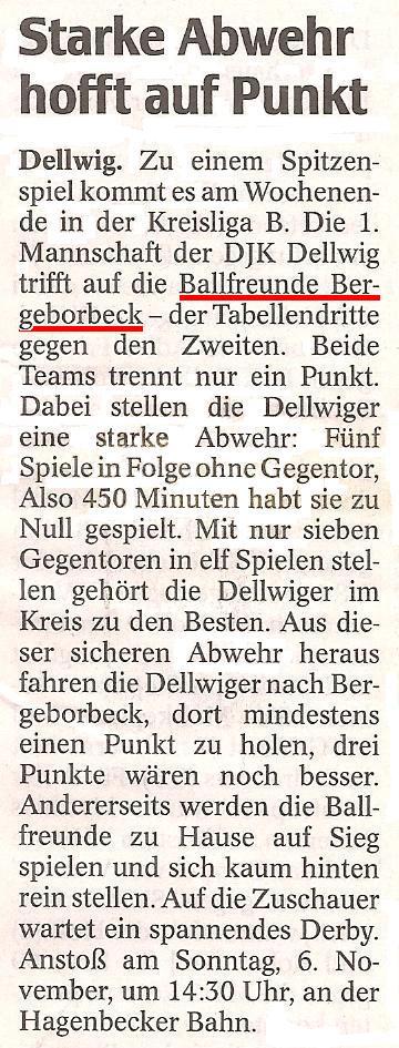 WAZ-Vorbericht vom 03.11.2011 über das Meisterschaftsspiel Ballfreunde - DJK Dellwig