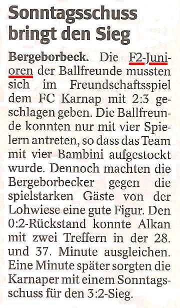 WAZ vom 03.11.2011 berichtet über der F2-Jugend gegen FC Karnap