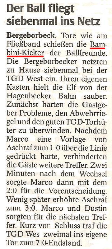 WAZ-Bericht vom 22.11.2011 über die Bambini von Ballfreunde Bergeborbeck
