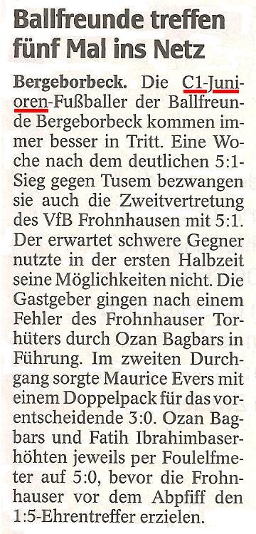 WAZ-Bericht vom 28.11.2011 über die C-Junioren von Ballfreunde Bergeborbeck