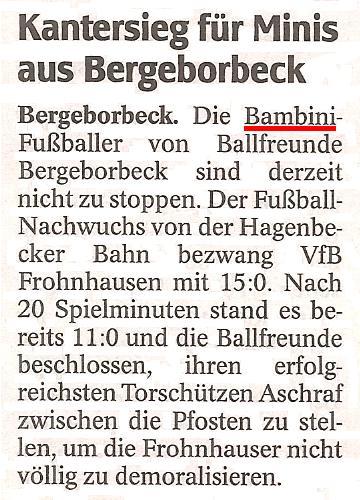 WAZ-Bericht vom 30.11.2011 über die Bambini von Ballfreunde Bergeborbeck