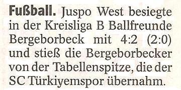WAZ-Bericht vom 05.12.2011 über die 1. Mannschaft von Ballfreunde Bergeborbeck