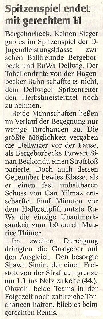 WAZ-Bericht vom 20.12.2011 über die D1-Jugend von Ballfreunde Bergeborbeck