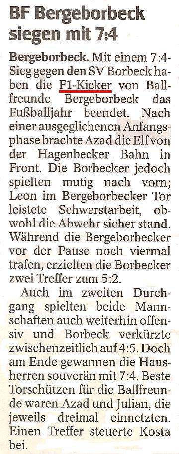 WAZ-Bericht vom 28.12.2011 über die F1-Jugend von Ballfreunde Bergeborbeck