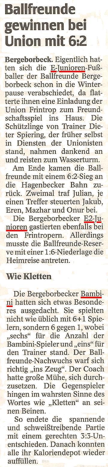 WAZ-Bericht vom 02.01.2012 über die E1, E2 und Bambini von Ballfreunde Bergeborbeck