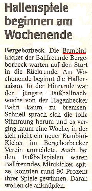 WAZ-Bericht vom 05.01.2012 über die Bambini von Ballfreunde Bergeborbeck