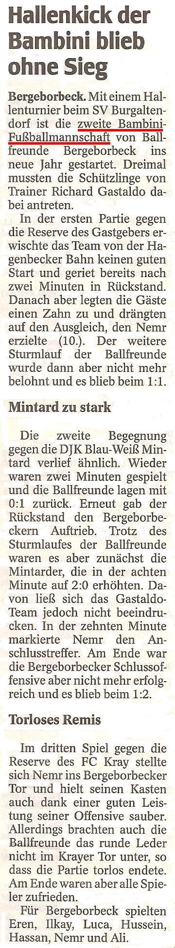 Ausführlicher Bericht der WAZ vom 18.01.2012 über das Turnier der Bambini 2 von Ballfreunde Bergeborbeck in Burgaltendorf