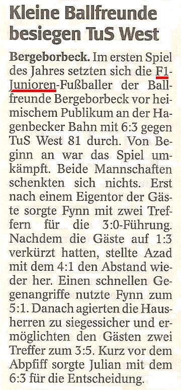 WAZ-Bericht vom 19.01.2012 über den Sieg der F1-Jugend gegen TuS Essen-West 1881