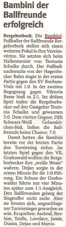 WAZ-Bericht vom 06.02.2012 über den Turniersieg der Bambini in Schalke