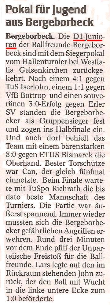 WAZ-Bericht vom 27.02.2012 über den Sieg der D1-Jugend beim Hallenturnier in Gelsenkirchen