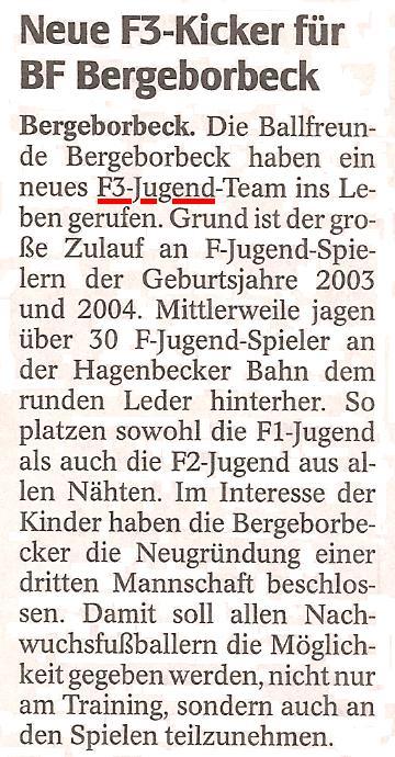 Die WAZ vom 28.02.2012 berichtet über die neue F3-Jugend von Ballfreunde Bergeborbeck