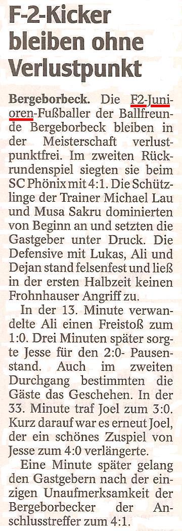 Die WAZ vom 06.03.2012 berichtet über den Meisterschaftssieg der F2-Jugend gegen SC Phönix