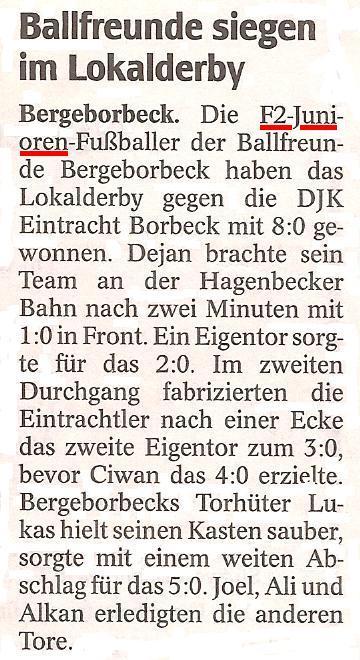 Die WAZ vom 10.04.2012 berichtet über den Sieg im Lokalderby der F2-Jugend gegen Eintracht Borbeck
