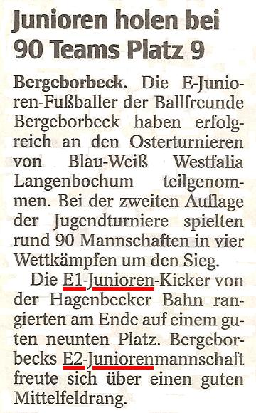 Die WAZ vom 16.04.2012 berichtet über die Turnierteilnahmen der E-Junioren bei Westfalia Langebochum