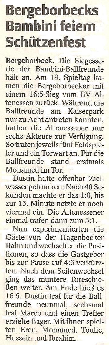 WAZ-Bericht vom 26.04.2012 über das Schützenfest der Bambini gegen BV Altenessen