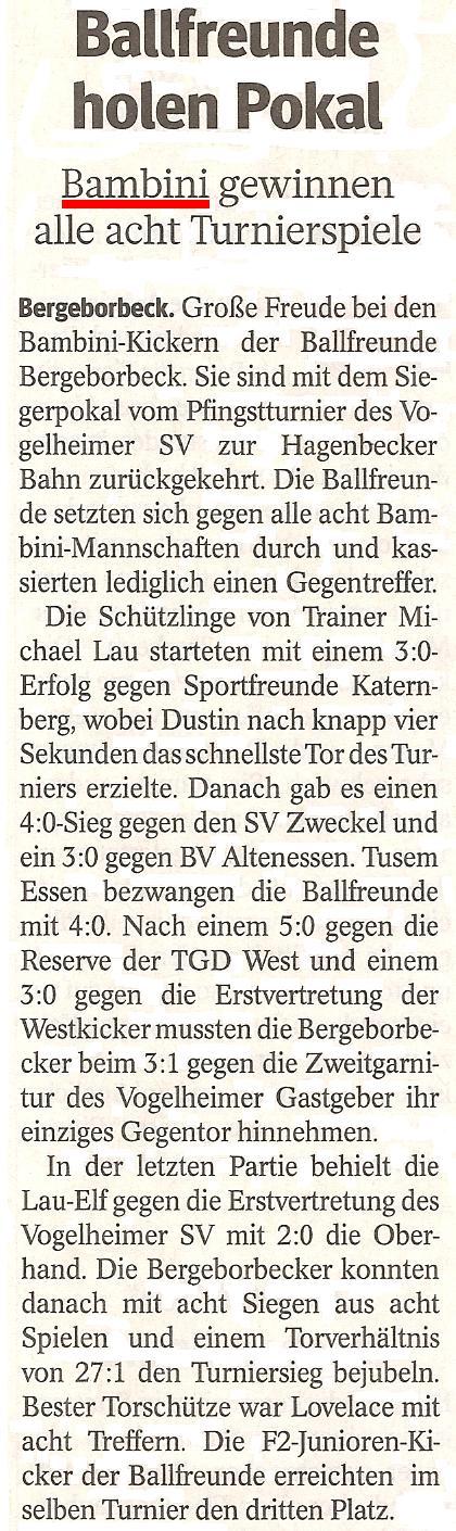 WAZ-Bericht vom 30.05.2012 über den Durchmarsch der Bambini bem Turnier des Vogelheimer SV