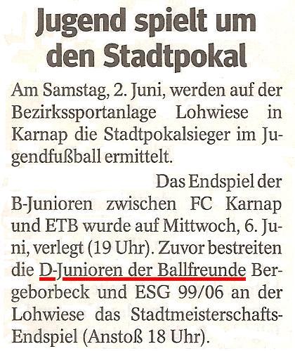 WAZ-Bericht vom 30.05.2012 über den Einzug der D1 ins Stadtmeisterschaftsendspiel