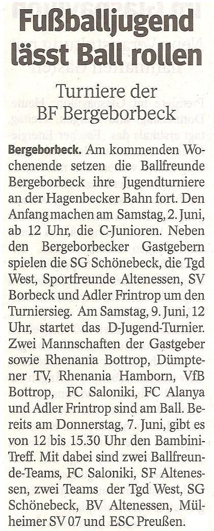 WAZ-Bericht vom 31.05.2012 über die Turnierwoche von Ballfreunde Bergeborbeck