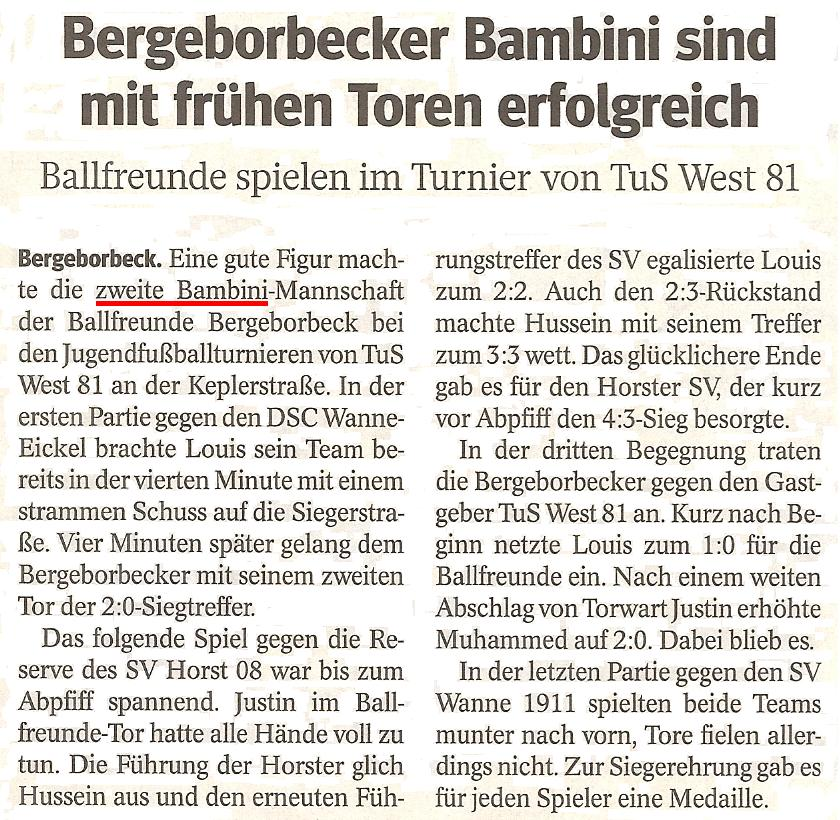 WAZ berichtet über das Turnier der Ballfreunde Bambini 2 in TuS Essen-West