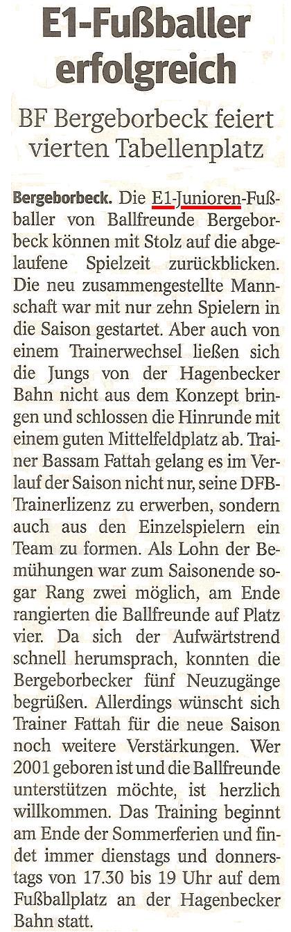 WAZ blickt auf die erfolgreiche Saison der E1 von Ballfreunde Bergeborbeck zurück