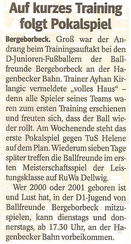 Die WAZ berichtet über die D1-Junioren von Ballfreunde Bergeborbeck