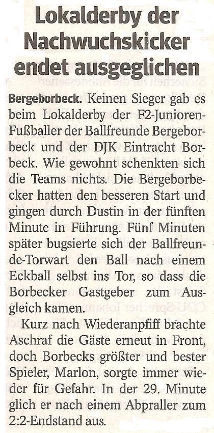 Die WAZ berichtet über den spannenden Saisonauftakt der F2-Jugend von Ballfreunde Bergeborbeck
