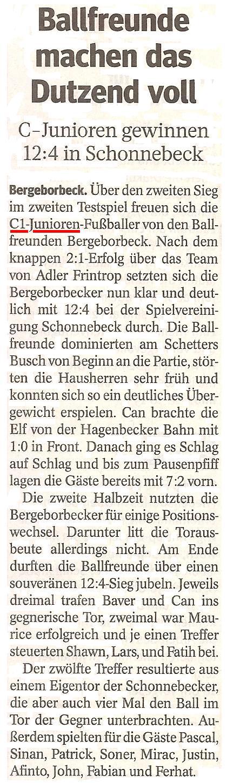 Die WAZ berichtet über den Kantersieg der C1 in Schonnebeck