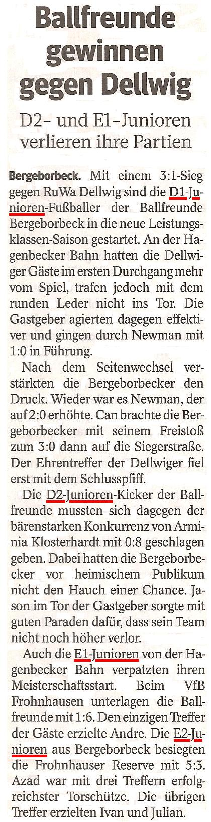 Die WAZ berichtet über die Spiele der E- und D-Junioren von Ballfreunde